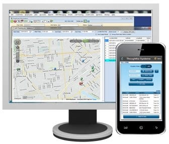 Scheduling Manager software on monitor and SM-Mobile app software on mobile phone